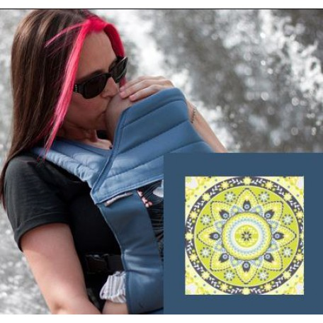 Май-слинг  BabyHawk  toddler (Бейбихок) зеленый медальон/ синий металлик