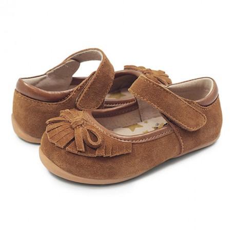 Замшевые туфли для девочек Уиллоу коричневые (размер 20-25) Livie and Luca