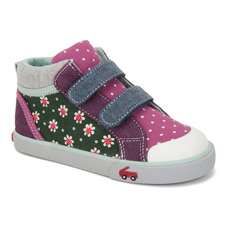Кеды для девочек Kya Green Floral/Multi (Киа зелено-розовые) SeeKaiRun
