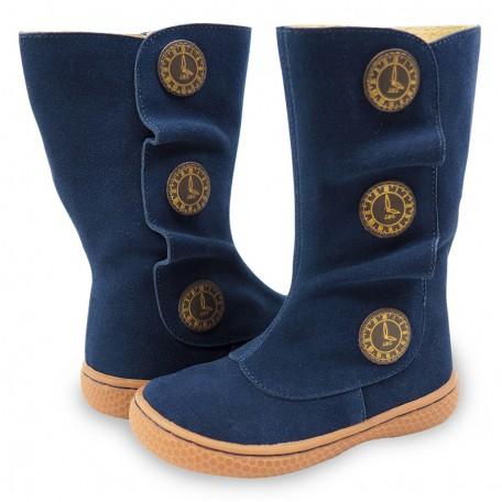 Замшевые кожаные сапожки для девочек Тьемпо синие (6-8лет) Livie and Luca