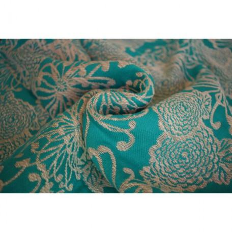 Слинг-шарф Yaro Chrys Puffy Aqua Natural Hemp (Яро Хризантема бежего-голубой толстый с коноплей) размер 6 (4.6 метра)