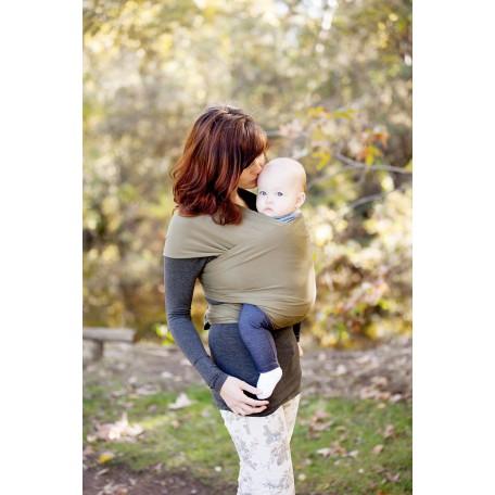 Слинг-шарф трикотажный Moby Wrap Bamboo Оливковый для новорожденных