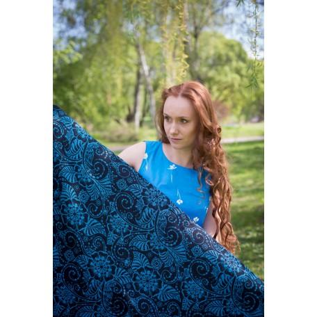 Слинг-шарф Yaro Ava Contra Black-Blue Glam (Яро Растения черно-голубой) размер 6 (4.6 метра)