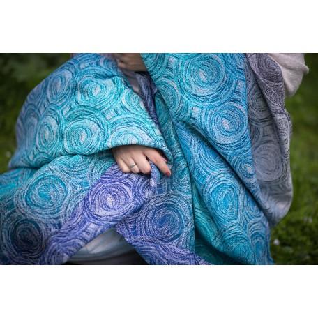 Слинг-шарф Yaro Galaxy Duo Aqua Grad BW Wool Blend (Галактики голубой градиент бленд) размер 6 (4.6 метра)
