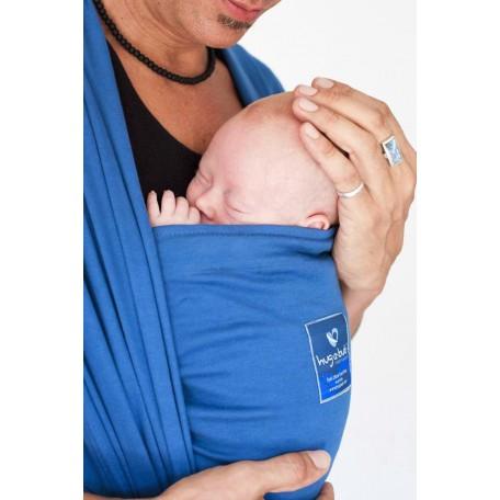 Слинг-шарф для новорожденных Hugabub Синий трикотажный без кармана (Byron blue)