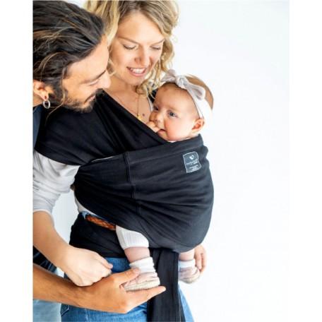 Слинг-шарф для новорожденных Hugabub Черный/черный трикотажный с карманом из органического хлопка