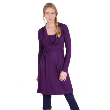 Платье-туника с горлом-шарфом для беременных (B4588) Jojo цвет виноградный