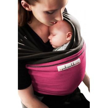 Трикотажный слинг для новорожденных JPMBB Темно-коричневый/фуксия