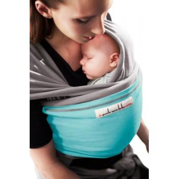 Трикотажный слинг для новорожденных JPMBB Светло-серый/тюркис