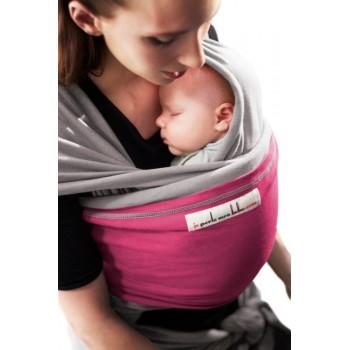 Трикотажный слинг для новорожденных JPMBB Светло-серый/фуксия