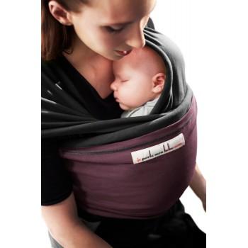 Трикотажный слинг для новорожденных JPMBB Чёрный/слива