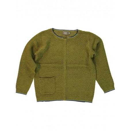 Кардиган детский вязаный на пуговицах оливковый 8107 Ли Kidscase