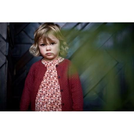Кардиган детский вязаный на пуговицах бордовый 8107 Ли Kidscase