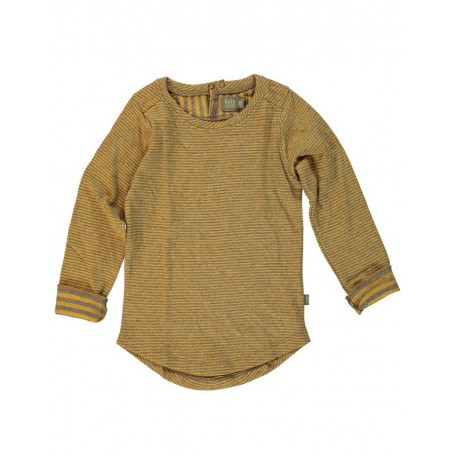 Кофта детская в полоску двусторонняя с длинным рукавом серая/охра 8116 Шон Kidscase
