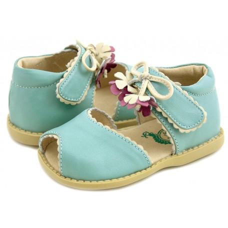Детские кожаные туфли Мэри Белл голубые (размер 20-25) Livie and Luca