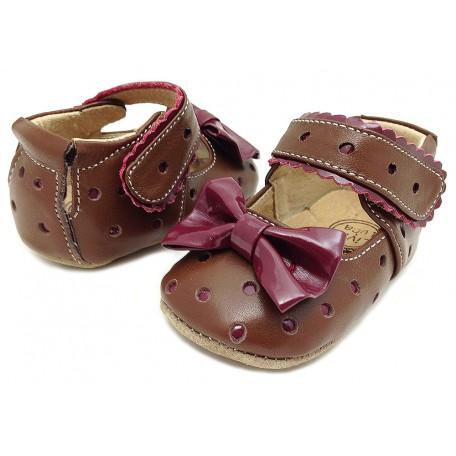Чешки-туфли детские кожаные Долли коричневые Livie and Luca