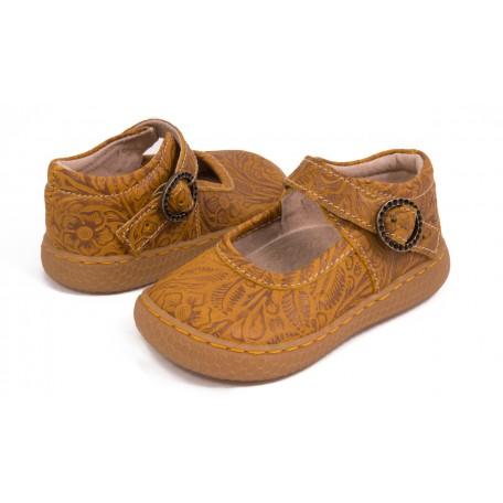 Детские кожаные туфли Клоув жёлтые (размер 20-25) Livie and Luca