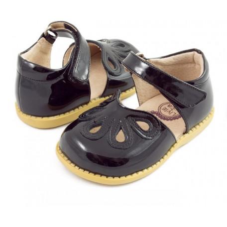Детские кожаные туфли Лепестки чёрные (размер 20-25) Livie and Luca