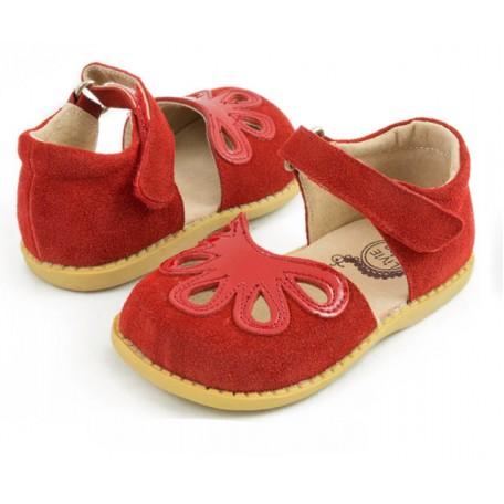 Детские кожаные туфли Лепестки красные (размер 20-25) Livie and Luca