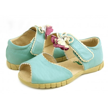 Мэри Белл голубые (размеры US10 - US13) детские кожаные сандалии Livie and Luca