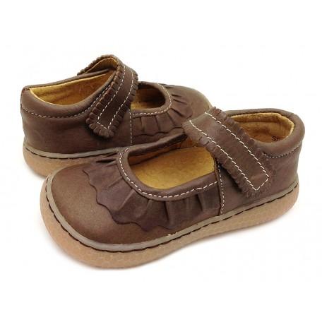 Детские кожаные туфли Рюш коричневые (размер 20-25) Livie and Luca