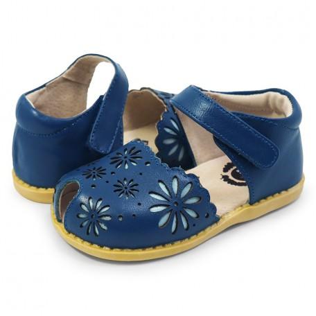 Детские кожаные сандалии Carmen Ocean Blue (Кармен синие) Livie and Luca