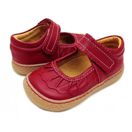 Детские кожаные туфли Рюш красные (размер 20-25) Livie and Luca