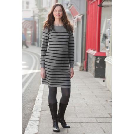 Вязаное платье (B4573) Jojo цвет серебряно-серые полоски