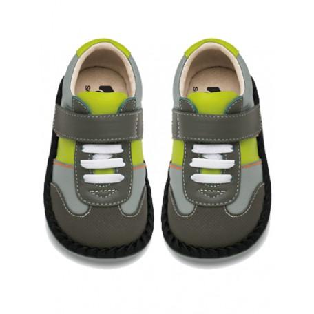 Ботинки для мальчиков серо-зеленые Asher Gray (Ашер серые) SeeKaiRun