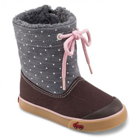 Сапожки для девочек на осень-зиму Greta Gray (Грета серо-коричневые) SeeKaiRun