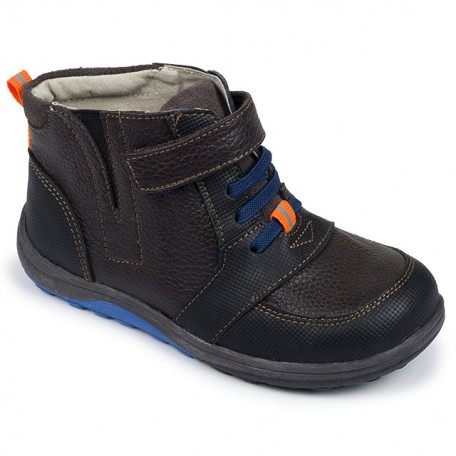 Ботинки высокие для мальчиков на осень черно-коричневые Ian Brown (Ян коричневые) SeeKaiRun