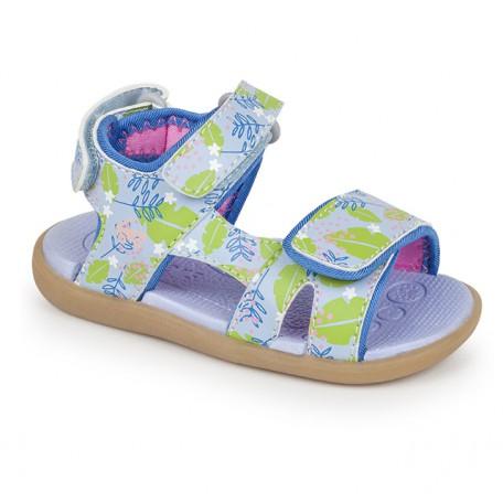 Босоножки для девочек Makena Blue Floral Toddler (Макена голубые цветы) SeeKaiRun