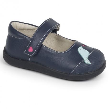 Туфли для девочек Kathryn Navy Light Blue (Кэтрин синий/голубой) SeeKaiRun