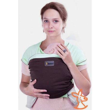 Слинг-шарф трикотажный Кенгуруша Mix фисташка-кофе для новорожденных