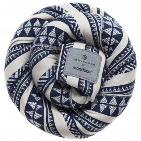 Трикотажный слинг-шарф Manduca Bellybutton BohoBlue (Мандука Беллибаттон Бохо-синий) для новорожденных