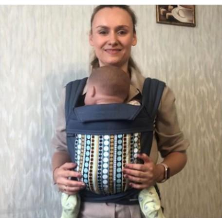Май-слинг  BabyHawk  toddler (Бейбихок) бирюзовые полоски с точками/ синий металлик