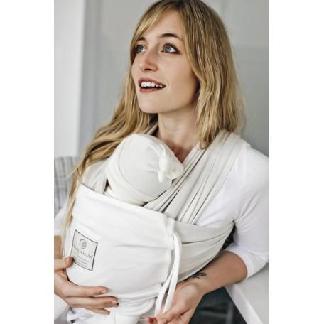 Трикотажный слинг-шарф для новорожденных Hugabub Беж/ваниль трикотажный с карманом из органического хлопка (French biegeVanilla)