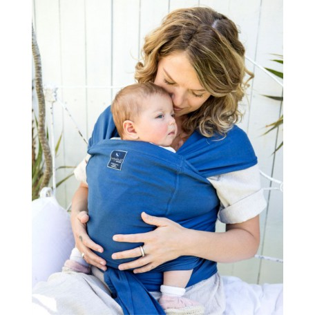 Слинг-шарф для новорожденных Hugabub Синий/синий трикотажный с карманом из органического хлопка