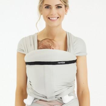 Слинг-шарф Hugabub NEWBIE Cерый трикотажный со встроенной поддержкой головы малыша