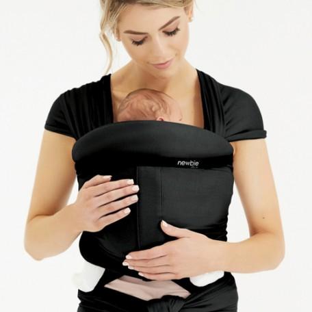 Трикотажный слинг-шарф для новорожденных Hugabub NEWBIE Черный со встроенной поддержкой головы малыша