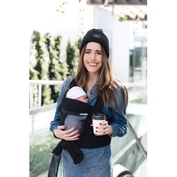 Слинг-шарф Hugabub NEWBIE Черный сетчатый трикотажный со встроенной поддержкой головы малыша