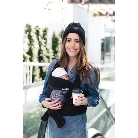 Слинг-шарф для новорожденных Hugabub NEWBIE Черный сетчатый трикотажный со встроенной поддержкой головы малыша