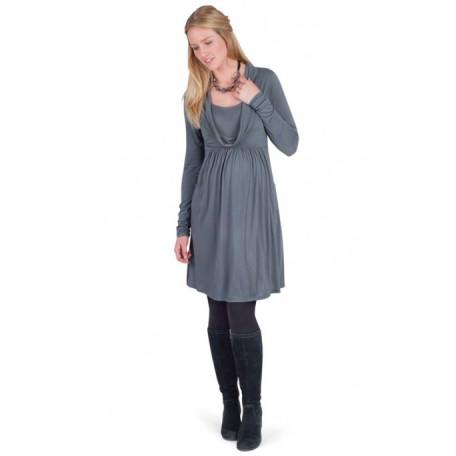 Платье-туника с горлом-шарфом для беременных (B4588) Jojo цвет серый