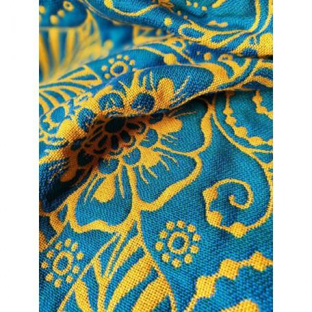 Слинг-шарф Yaro Ava Contra Teal Orange Glossy (Яро Растения сине-оранжевый двусторонний) размер 6 (4.6 метра)