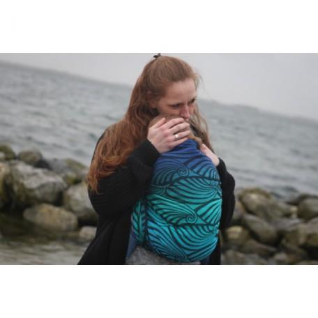 Слинг-шарф Yaro Dandy Aqua Grad Black Wool Blend (Яро Дэнди сине-зеленый градиент с шерстью) размер 6 (4.6 метра)
